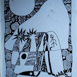 Kumeyaay Abundance – Ink Drawing 6″ x 9″ (15.2cm x 22.75cm)